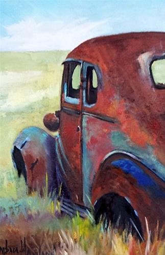 """Old Rusty  Sedan"" original fine art by Barbara Haviland"