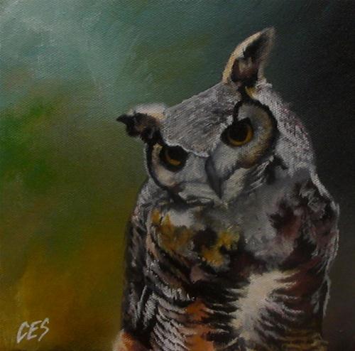 """""""Great Horned owl"""" original fine art by ~ces~ Christine E. S. Code"""