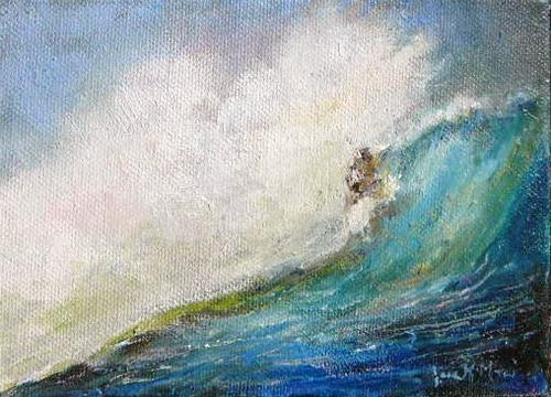 """Surfers Curl"" original fine art by Jane Morac'E"