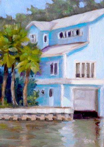 """""""House of Blue, 5x7 Oil on Canvas Board"""" original fine art by Carmen Beecher"""
