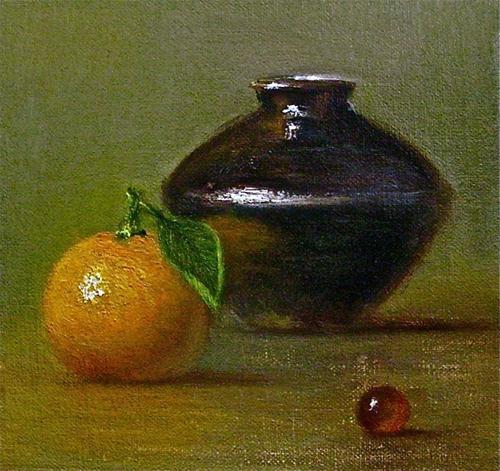 """Still Life with Tangerine, Ceramic Pot, and Grape"" original fine art by MeeLi Lee"