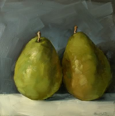 """Pair of Pears No.3"" original fine art by Michael Naples"