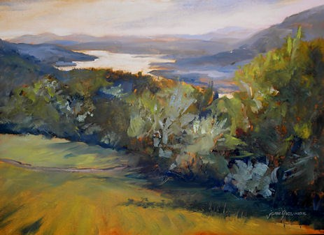"""Hudson River from Above — an oil sketch from Olana"" original fine art by Jamie Williams Grossman"