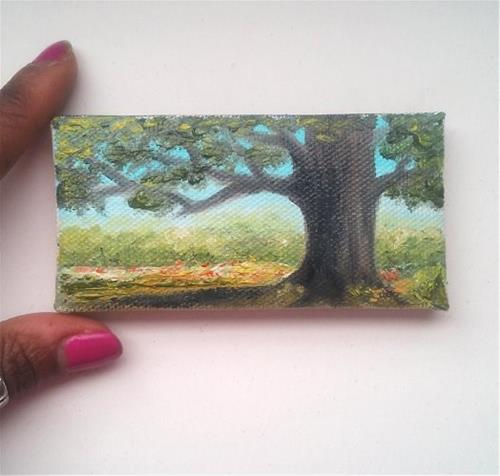"""Landscape with Tree"" original fine art by Camille Morgan"