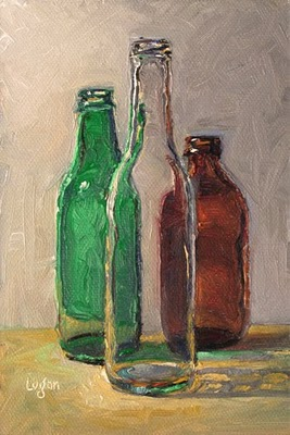 """Bottle Trio #1"" original fine art by Raymond Logan"