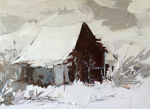 """White Barn"" original fine art by Sandra Pratt"