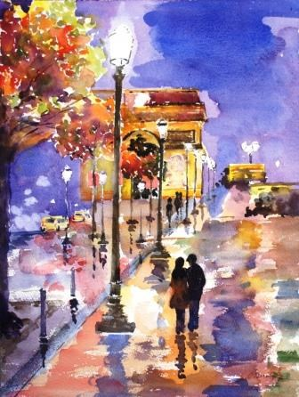 """City of Light, Champs-Elysees, Paris"" original fine art by Lisa Fu"