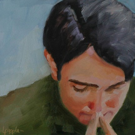 """IN THOUGHT"" original fine art by Linda Popple"