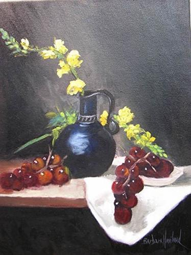 """Pitcher,Snapdragons,and Grapes by Barbara Haviland"" original fine art by Barbara Haviland"