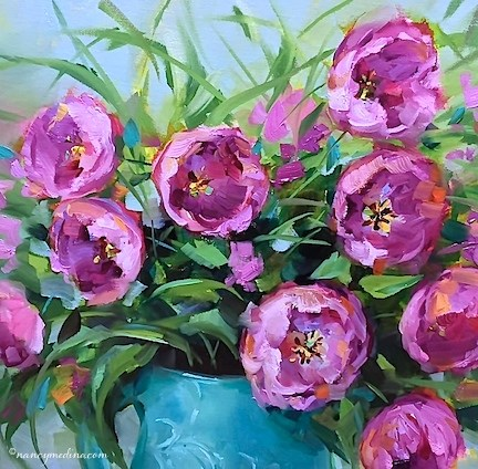 """Pink Blush Tulips, a New Video, and a Radio Interview - Flower Painting Classes and Workshops by Nan"" original fine art by Nancy Medina"