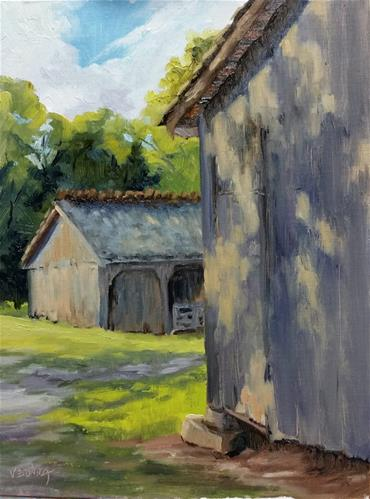 """Barns at Faust-en plein air"" original fine art by Veronica Brown"