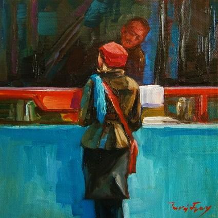 """at lunch"" original fine art by Jurij Frey"
