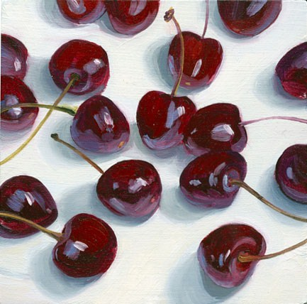 """Scattering of Cherries"" original fine art by Jean Wilkey"