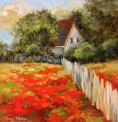 """Indian Paintbrush Homestead"" original fine art by Nancy Medina"