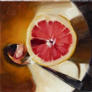 """Small Oil Painting of Grapefruit"" original fine art by Deb Anderson"