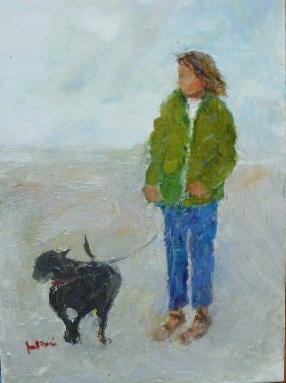 """Moonstone Beach~Girl With Best Friend"" original fine art by Jane Morac'E"