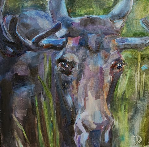 """Day 14 of 30 - Patchwork Moose"" original fine art by Carol DeMumbrum"