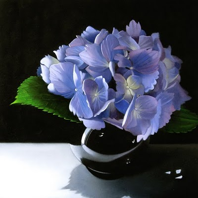"""Hydrangea In Black Vase 8x8"" original fine art by M Collier"