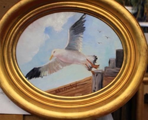 """""""Oval Sea Gull in Flight"""" original fine art by Barbara Haviland"""