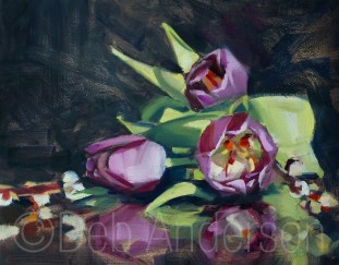 """Oil painting of Tulips and Catkins"" original fine art by Deb Anderson"