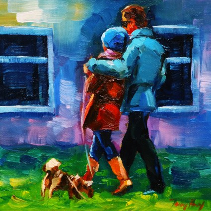 """With the dog"" original fine art by Jurij Frey"