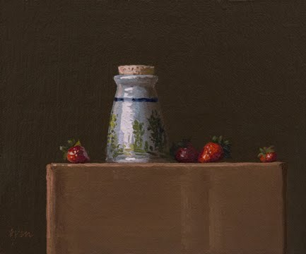 """Mom's Sugar Bowl with Strawberries"" original fine art by Abbey Ryan"