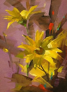 """Yellow Daisy --- Sold"" original fine art by Qiang Huang"