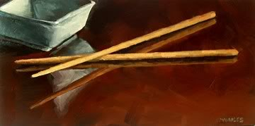 """Chopstick Reflections"" original fine art by Michael Naples"