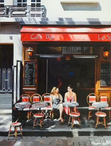 """""""Café Le Sabot Rouge"""" original fine art by Andre Beaulieu"""