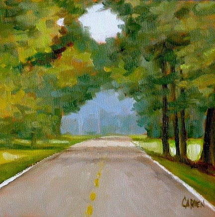 """Natchez Trace, 6x6 Oil on Canvas Panel, Landscape Painting"" original fine art by Carmen Beecher"