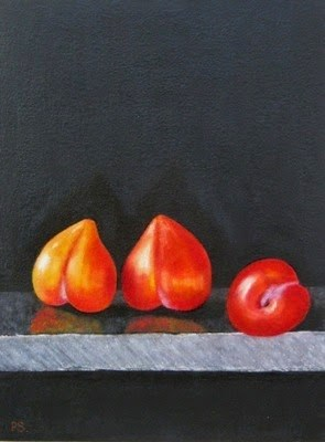 """Three Plums"" original fine art by Pera Schillings"