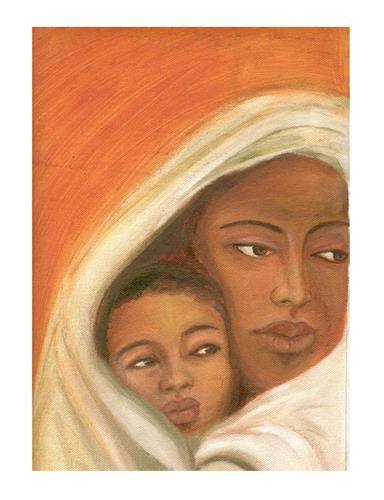 """Mother's hug"" original fine art by Asha Shenoy S"